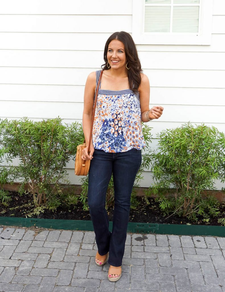 summer fashion | blue floral print tank top | flared jeans | Petite Fashion Blogger Lady in Violet