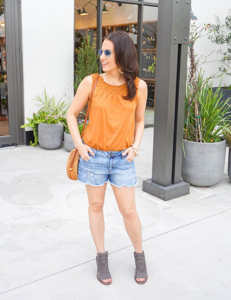 summer outfit | dark orange sleeveless top with cutoff jean shorts | Affordable Fashion Blog Lady in Violet