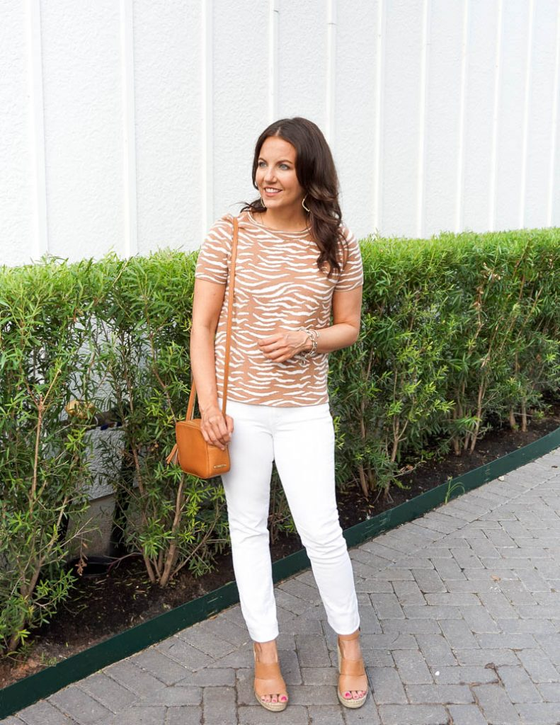 summer outfit | tan zebra sweater | white denim | Affordable Fashion Blog Lady in Violet