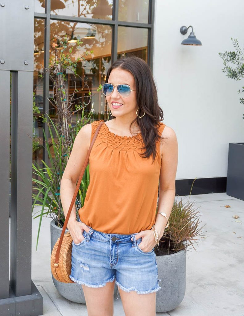 casual outfit | burnt orange smock neck tank top | jean shorts | Texas Fashion Blog Lady in Violet