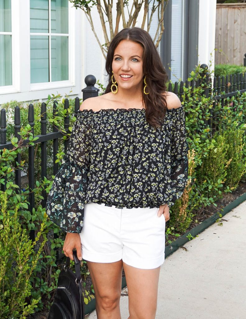 casual outfit   dark floral print ots top with white dress shorts   Texas Fashion Blog Lady in Violet
