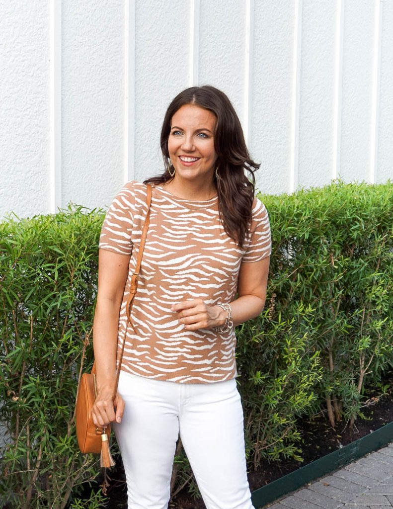 casual outfit   light brown zebra print sweater   small crossbody bag   Petite Fashion Blog Lady in Violet