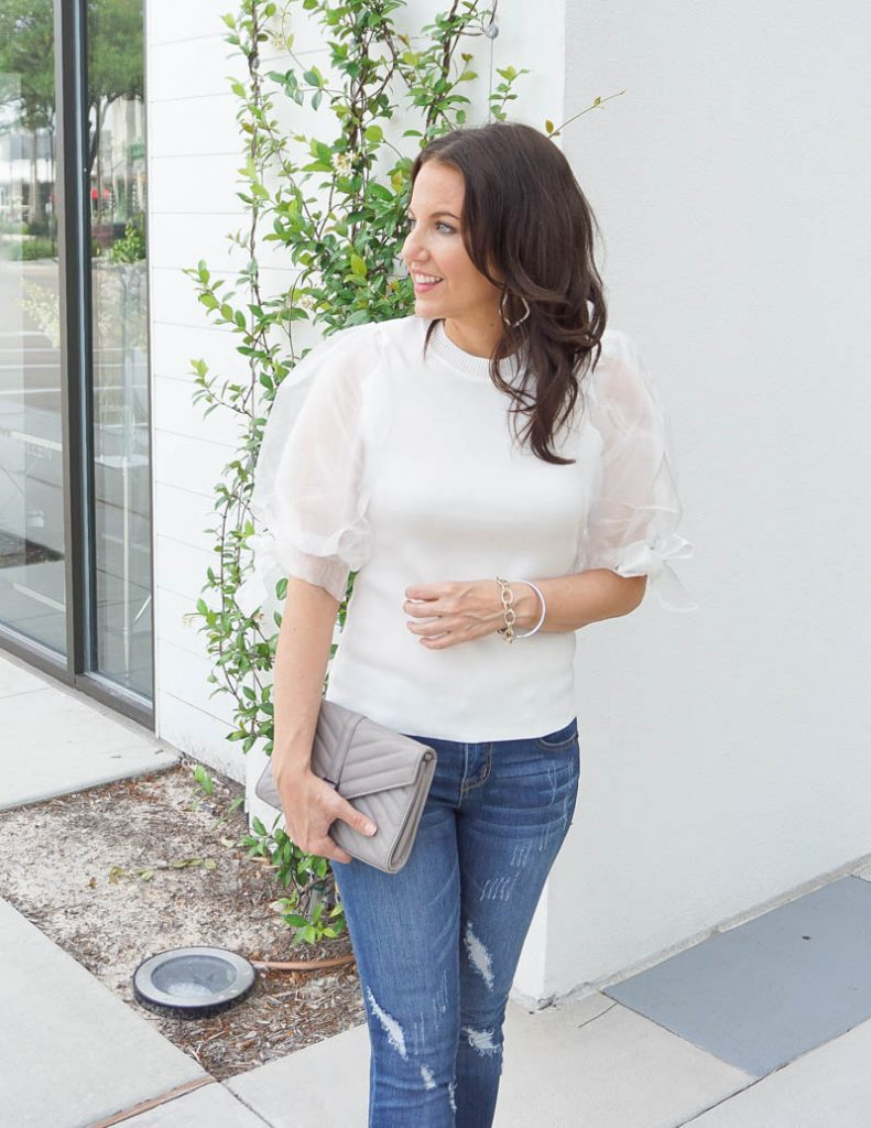 girls night out outfit | organza puff sleeve top and gray clutch | Houston Fashion Blog Lady in Violet