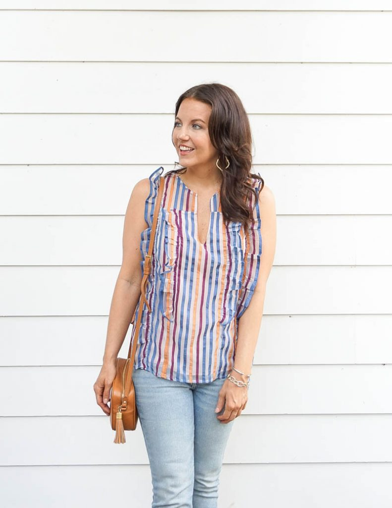 summer outfit | colorful striped blouse | small crossbody purse | Houston Fashion Blog Lady in Violet
