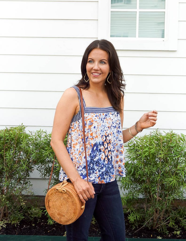 summer outfit | floral tank top | circle straw purse | Affordable Fashion Blog Lady in Violet