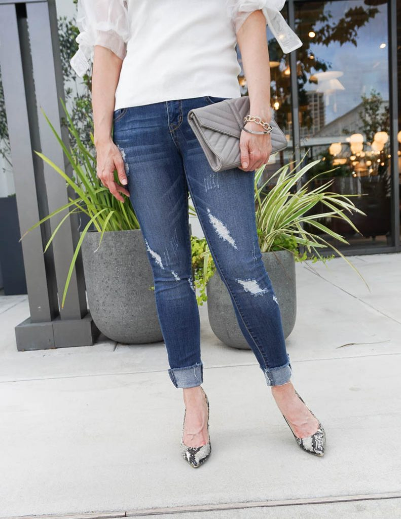 casual night out outfit   distressed jeans with snakeskin heels   Texas Fashion Blog Lady in Violet