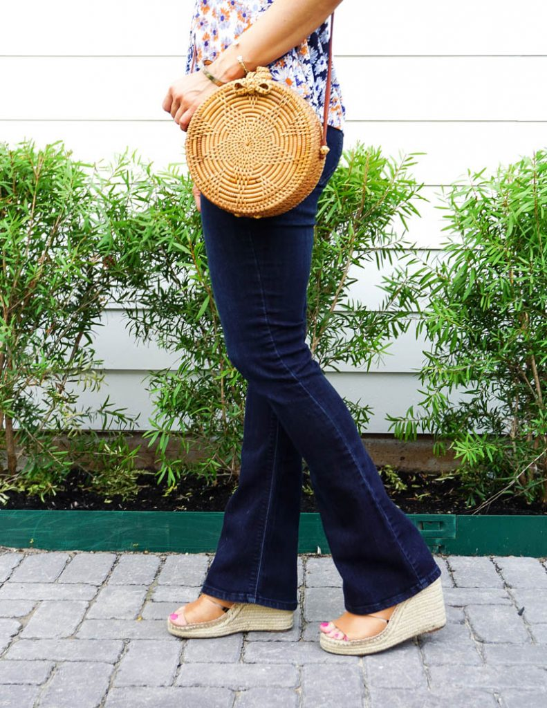 casual outfit | dark wash flared jeans | brown espadrille wedges | Texas Fashion Blog Lady in Violet