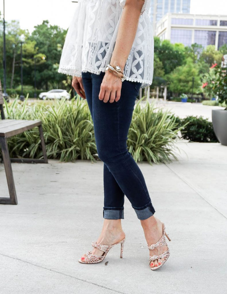 casual outfit | floral slide sandals | dark wash denim | Everyday Fashion Blog Lady in Violet