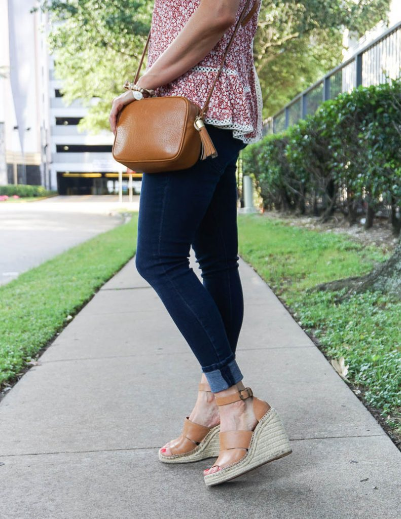 casual outfit | tan crossbody purse | espadrille wedge sandals | Budget Friendly Fashion Blog Lady in Violet