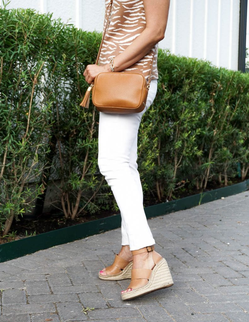spring outfit | white skinny jeans | light brown espadrille wedges | Texas Fashion Blog Lady in Violet