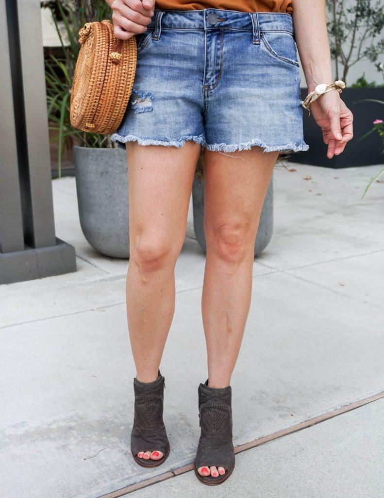 summer fashion   cutoff denim shorts with peeptoe booties   Casual Fashion Blog Lady in Violet