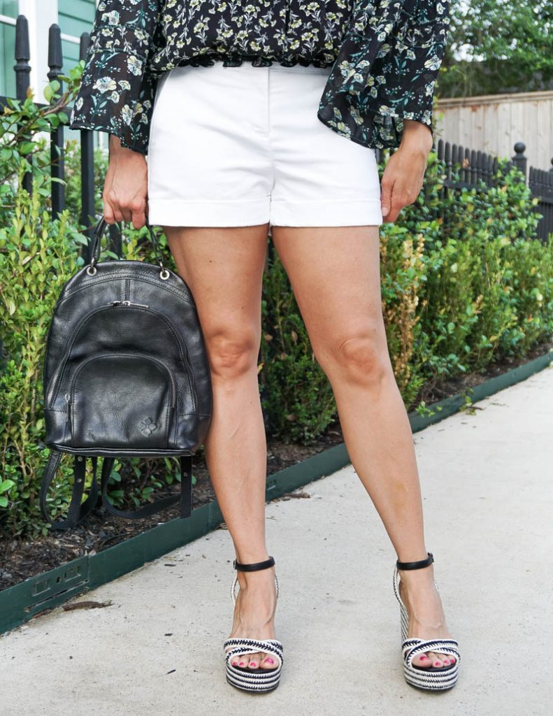 summer fashion | white dress shorts with black espadrille wedges | Casual Fashion Blog Lady in Violet