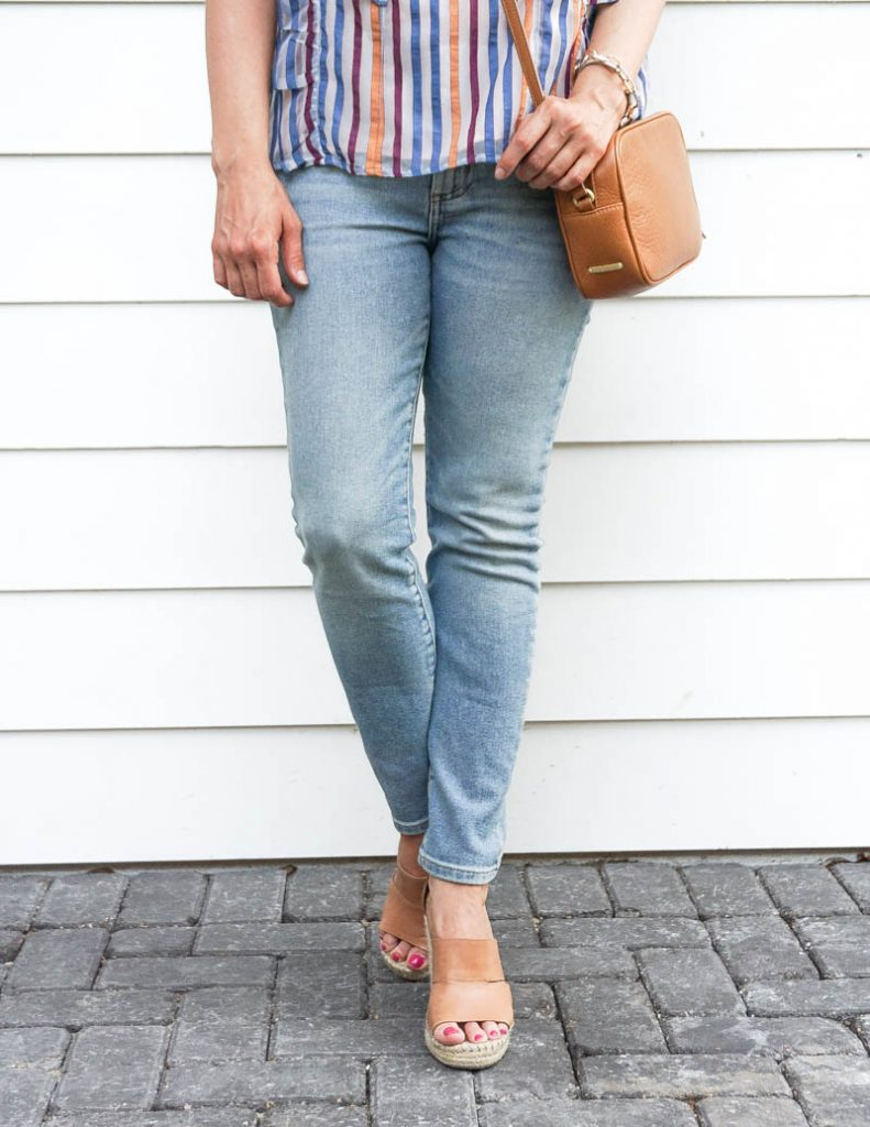 what to wear with light wash jeans | brown wedge sandals | Casual Fashion Blog Lady in Violet