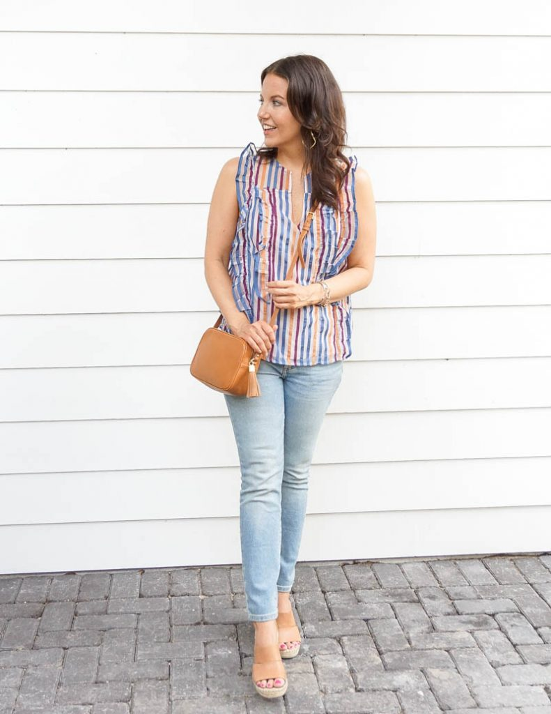 casual outfit | rainbow striped sleeveless top with light blue skinny jeans | Petite Fashion Blog Lady in Violet