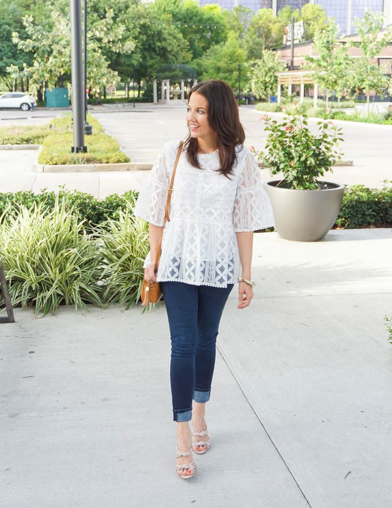 casual spring outfit | white lace detail blouse with sleeves | dark blue jeans | Petite Fashion Blog Lady in Violet