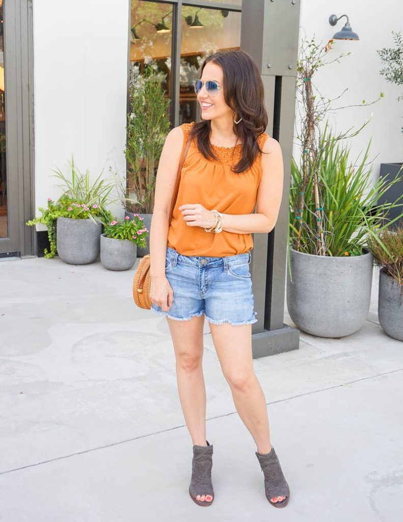 casual summer outfit | rust orange sleeveless top | brown peep toe booties | Houston Fashion Blog Lady in Violet