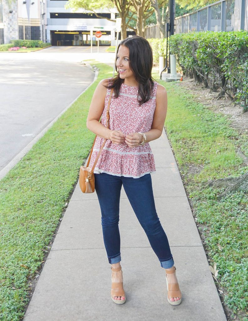 summer outfit | red floral tank top with dark wash skinny jeans | Houston Fashion Blog Lady in Violet