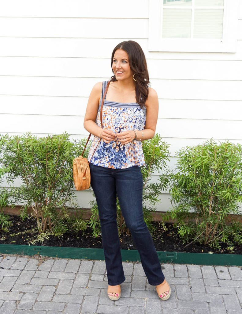 summer style | blue floral tank top | dark wash bootcut jeans | Houston Fashion Blog Lady in Violet