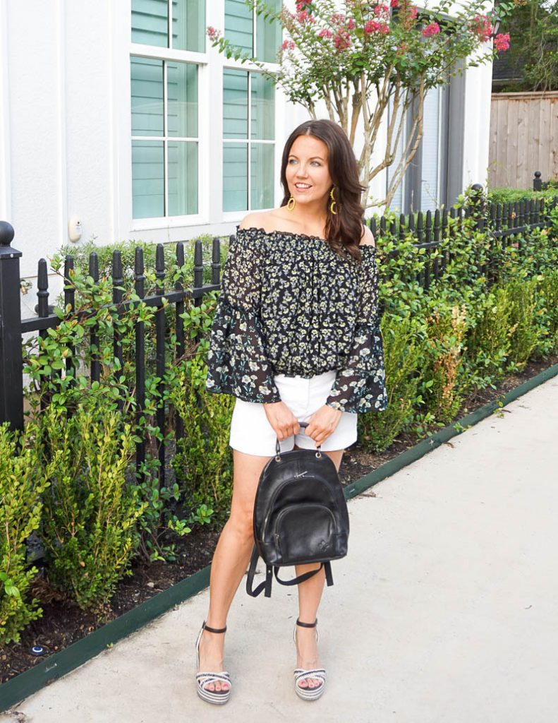 dressy casual summer outfit   floral print off the shoulder top with white cotton shorts   Houston Fashion Blog Lady in Violet