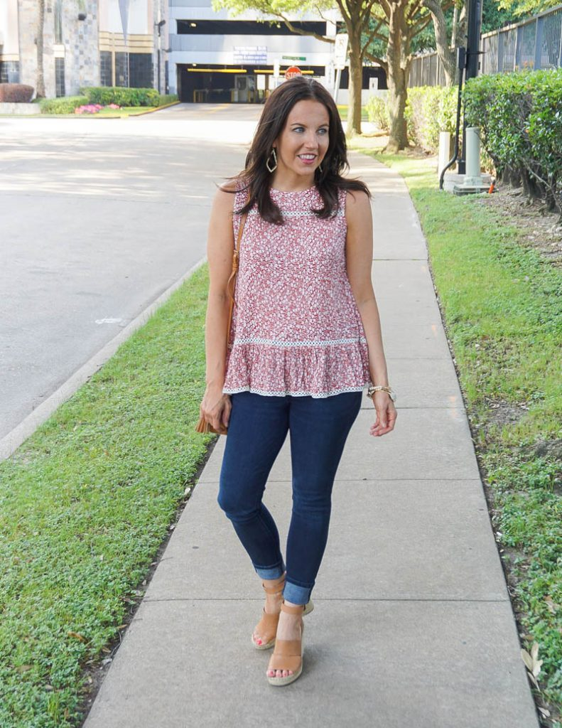 hot weather outfit | red sleeveless ruffle hem top with dark blue jeans | Texas Fashion Blog Lady in Violet