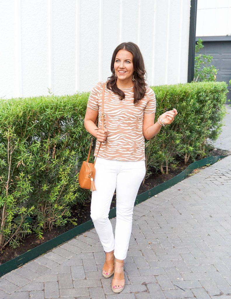 spring fashion | light brown short sleeve sweater | white jeans | Houston Fashion Blogger Lady in Violet