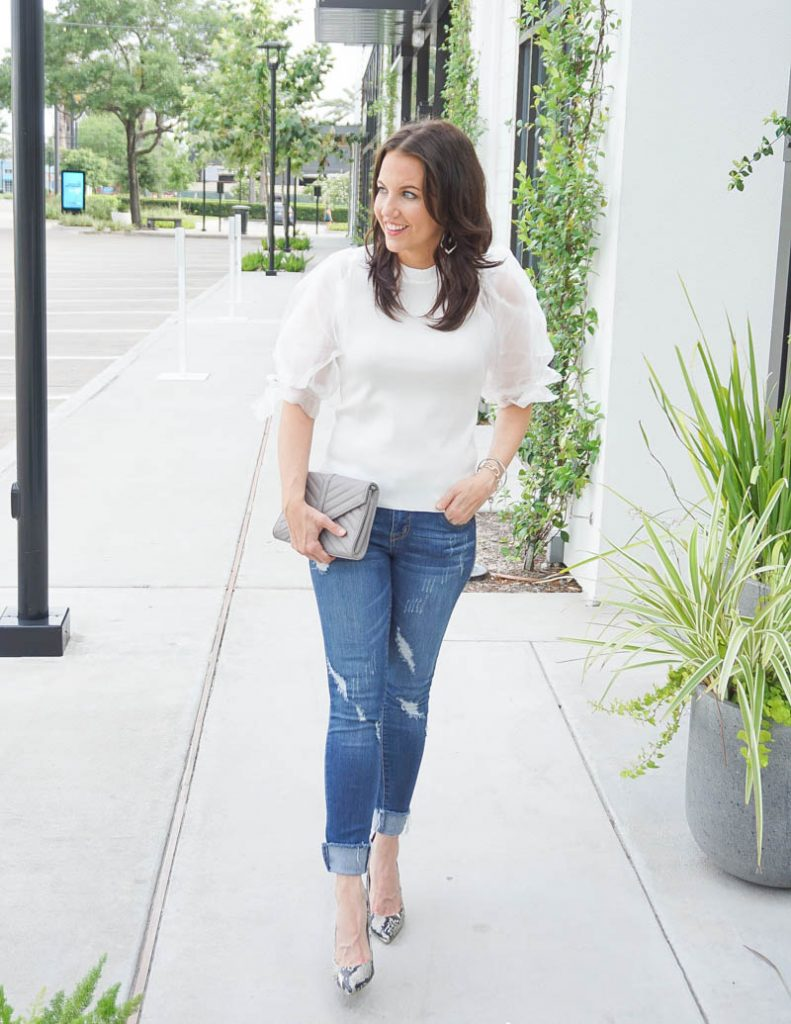 spring outfit | white organza puff sleeve top with frayed hem jeans | Everyday Fashion Blog Lady in Violet