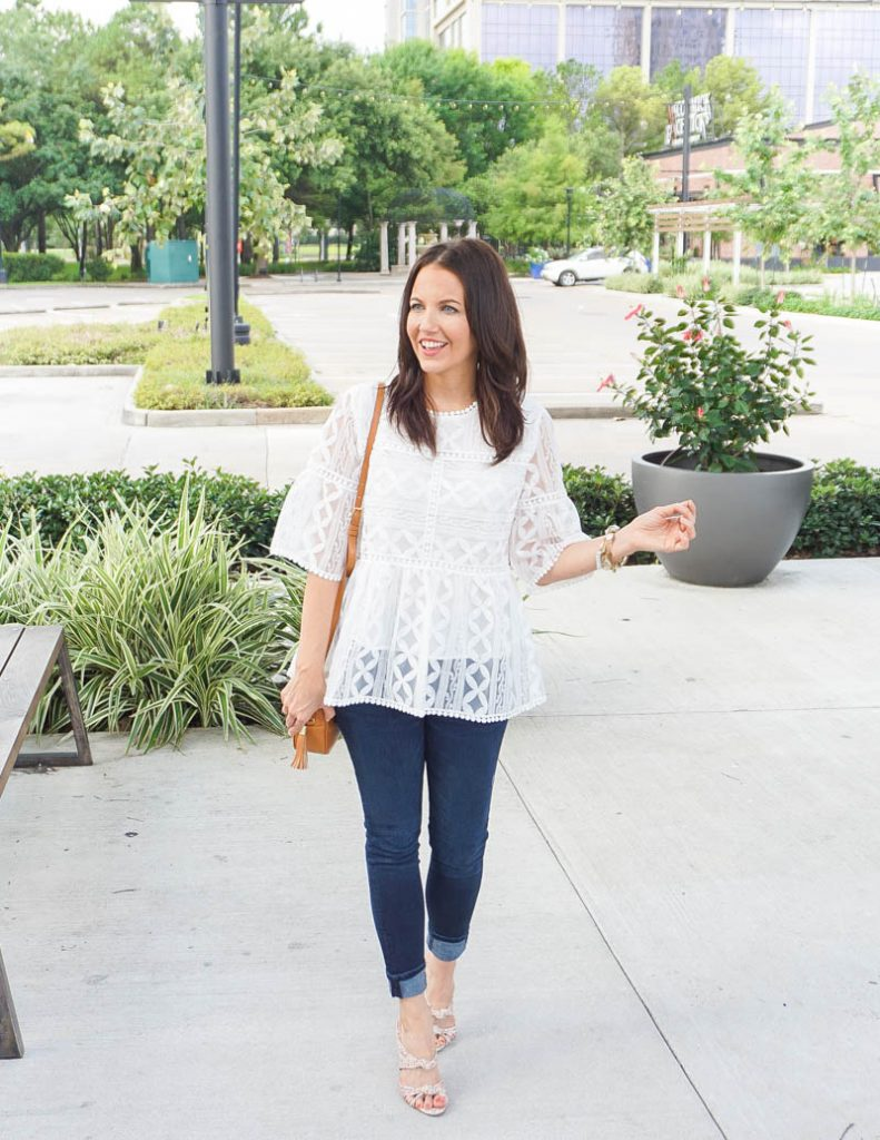 summer outfit | bright white lace blouse | floral strappy sandals | Houston Fashion Blog Lady in Violet