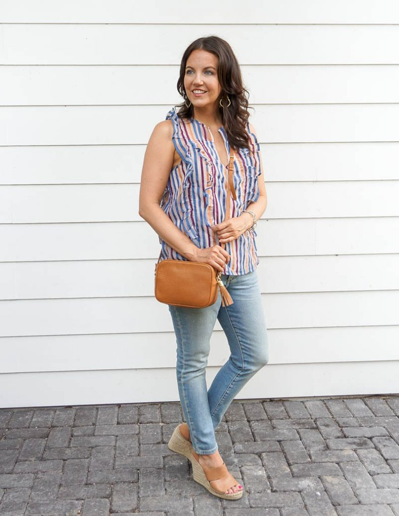 summer outfit | colourful striped top | tan crossbody bag | Texas Fashion Blogger Lady in Violet