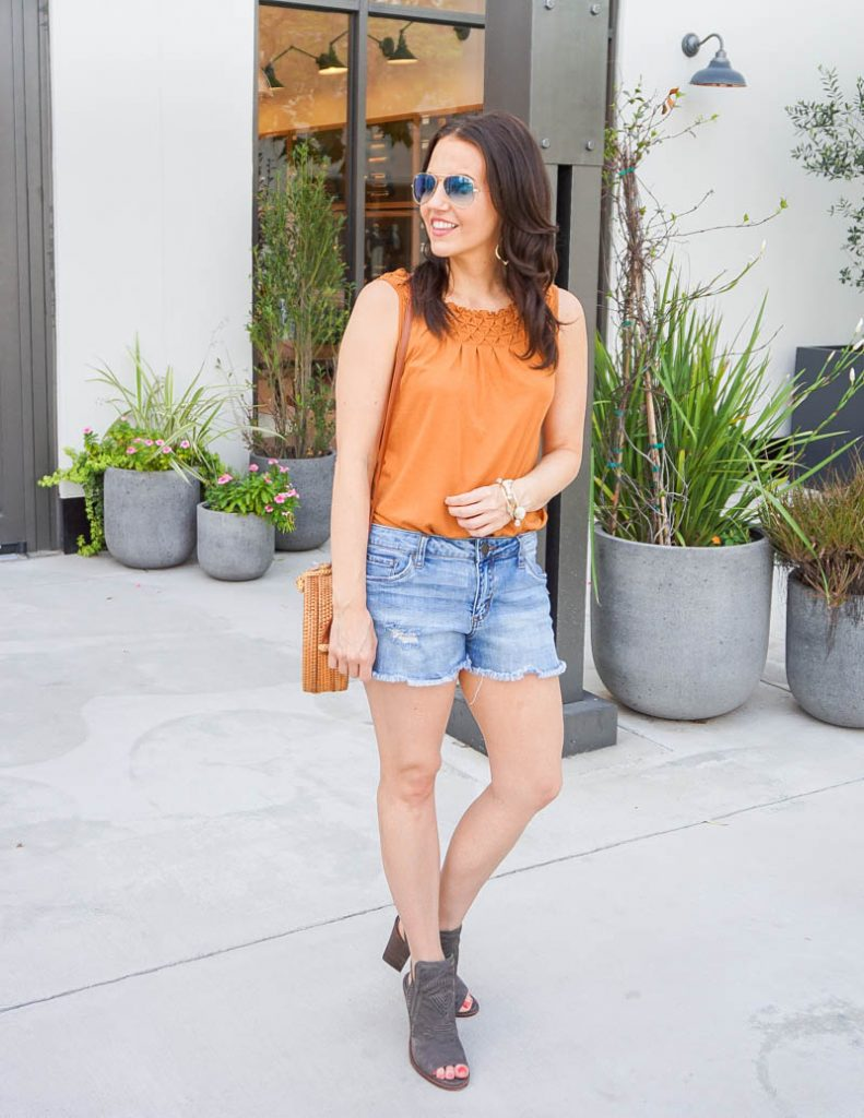 summer outfit | orange tank top with light blue jean shorts | Petite Fashion Blog Lady in Violet