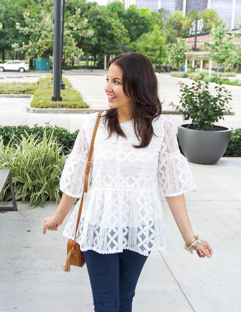 casual outfit | affordable white lace blouse | tan small crossbody purse | Petite Fashion Blogger Lady in Violet