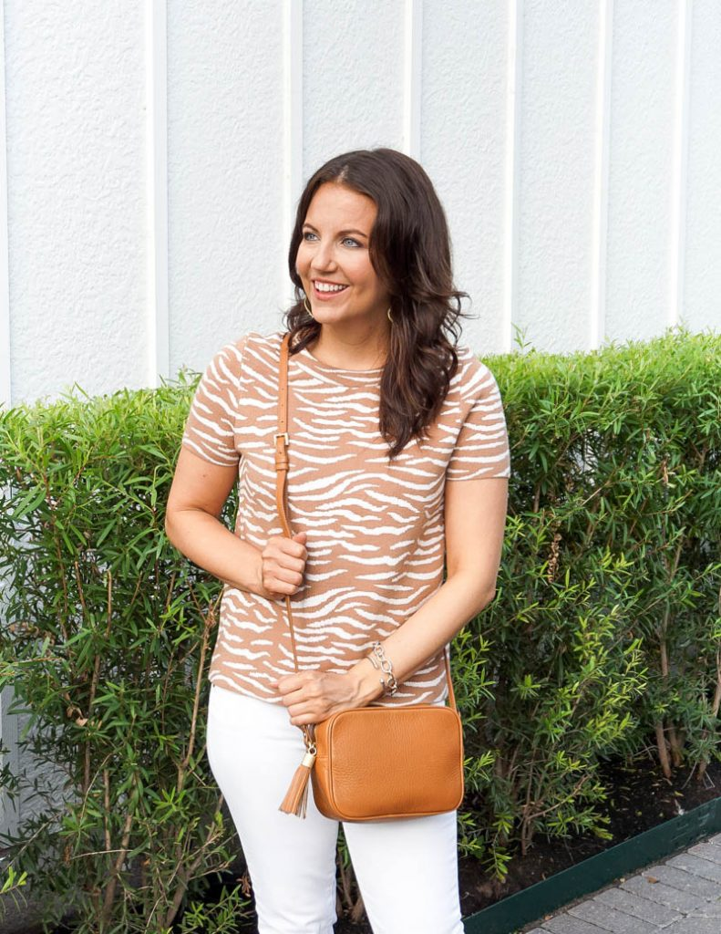 casual style | zebra print short sleeve top | tan crossbody bag | Affordable Fashion Blogger Lady in Violet