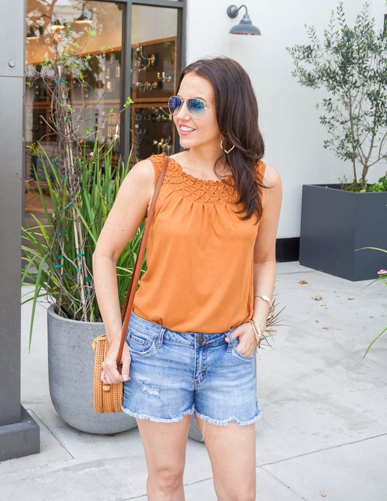 summer outfit idea | dark orange tank top with blue jean shorts | Everyday Style Blog Lady in Violet
