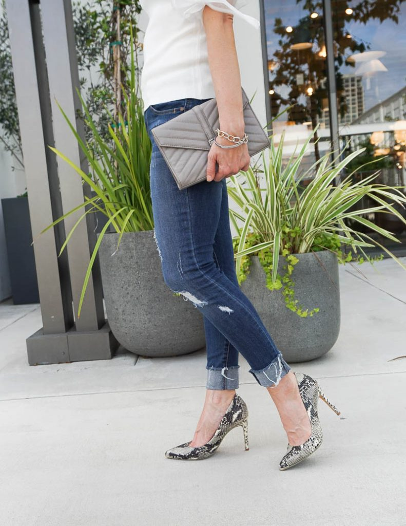 casual outfit | distressed jeans with snakeskin python heels | Petite Fashion Blog Lady in Violet