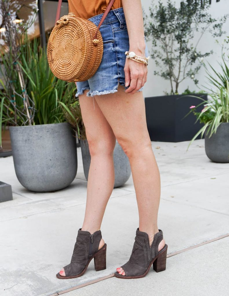 summer fashion | straw crossbody purse | jean shorts | Affordable Fashion Blog Lady in Violet