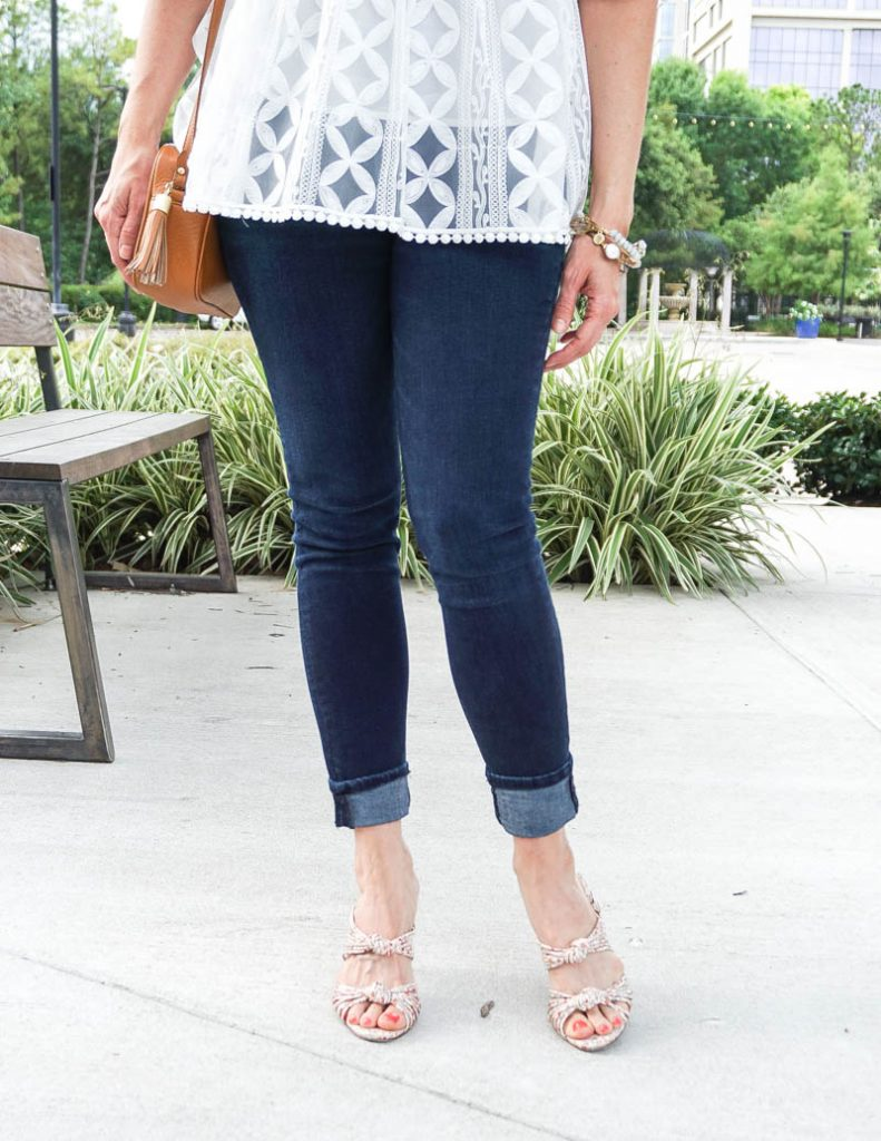summer outfit | dark blue skinny jeans | schutz kitten heels | Affordable Fashion Blogger Lady in Violet