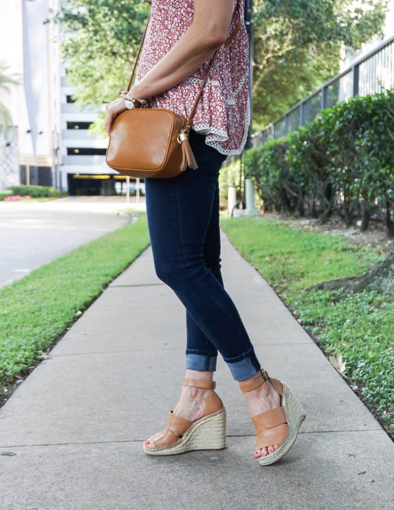summer outfit | dark wash denim with brown espadrille wedges | Petite Fashion Blogger Lady in Violet