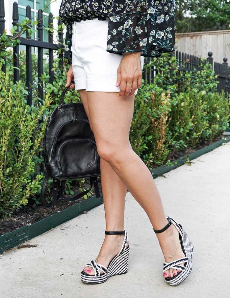 summer outfit   white cotton dress shorts with black espadrille wedge sandals   Everyday Fashion Blog Lady in Violet