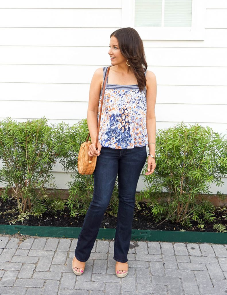 casual outfit | blue orange floral tank top | dark blue jeans | Southern Style Blogger Lady in Violet