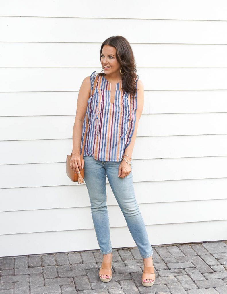 casual outfit | rainbow striped top with light blue jeans | Southern Style Blog Lady in Violet