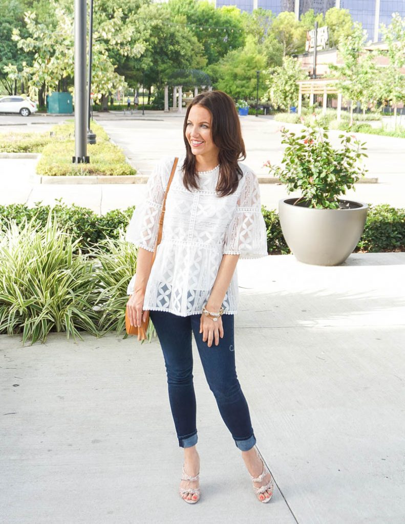 spring outfit | white lace blouse with sleeves | dark wash jeans | Casual Fashion Blog Lady in Violet