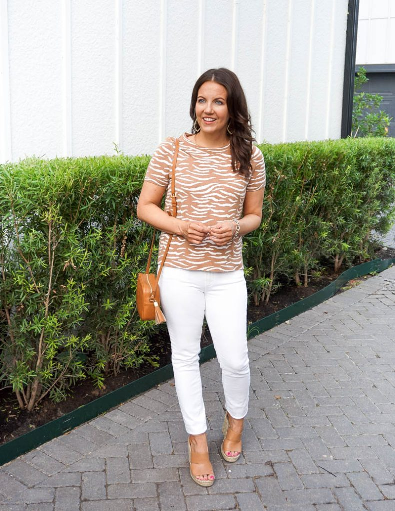 spring style | tan zebra print knit top | white denim pants | Petite Fashion Blogger Lady in Violet
