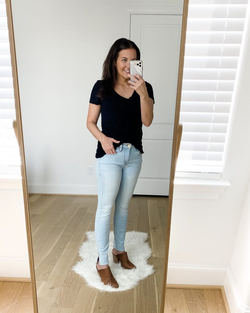 fall fashion | black short sleeve tee | light wash jeans | brown mules | Affordable Fashion Blog Lady in Violet