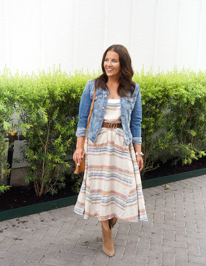 fall outfit | denim jacket | striped midi dress | Affordable Fashion Blog Lady in Violet