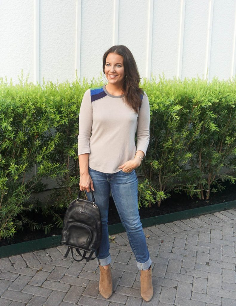 fall outfit | gray mid length sleeve tee with cuffed blue jeans | Affordable Fashion Blog Lady in Violet
