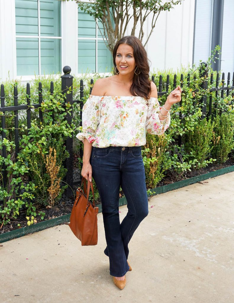fall outfit | white off the shoulder top | bootcut jeans | Petite Fashion Blog Lady in Violet
