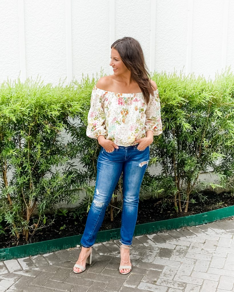 spring outfit | floral off the shoulder top | distressed jeans | Petite Fashion Blog Lady in Violet