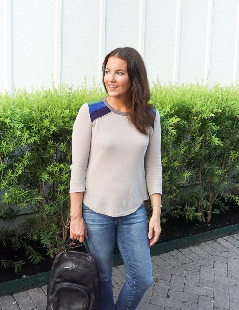 fall fashion | gray tee | black leather backpack purse | Petite Fashion Blog Lady in Violet