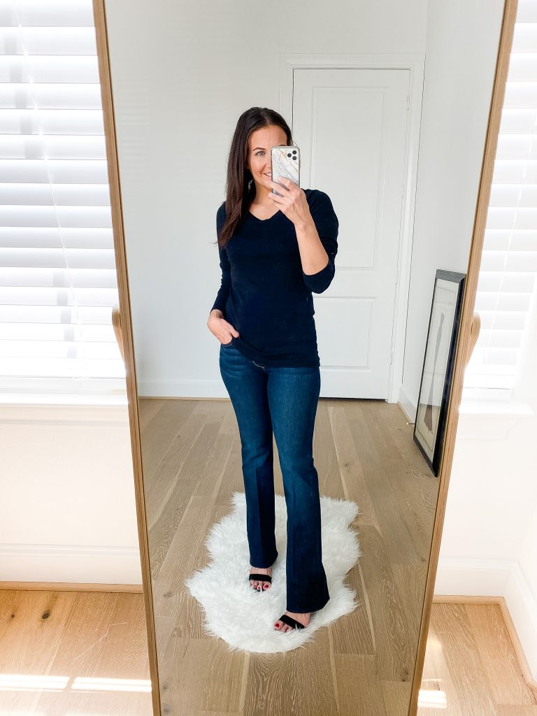 nsale try on | long sleeve black tee | dark wash flared jeans | Petite Fashion Blog Lady in Violet