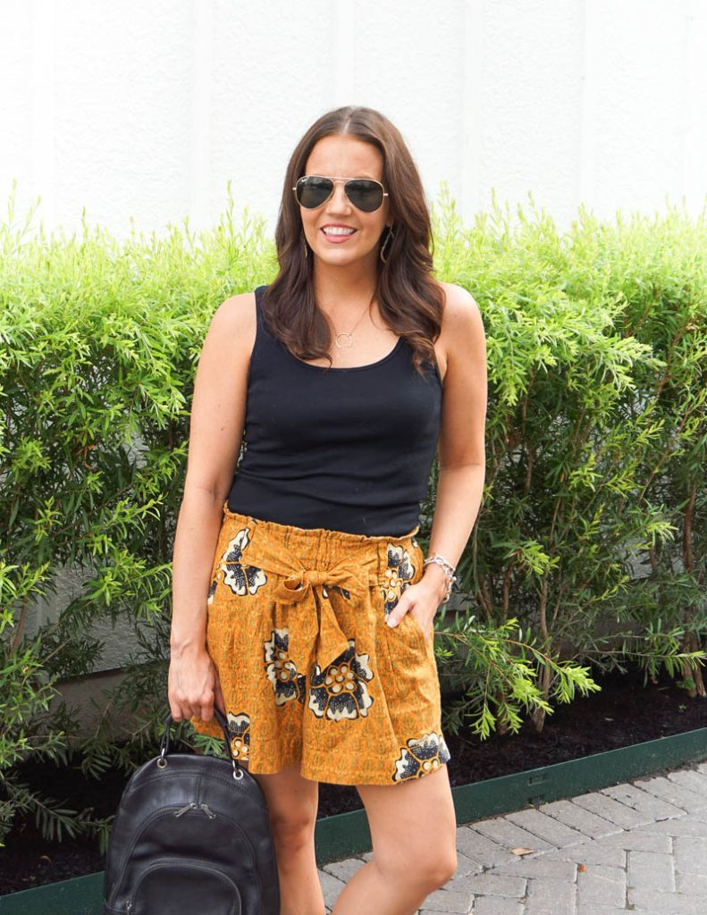 summer fashion | yellow floral print shorts | black tank top | Affordable Fashion Blog Lady in Violet