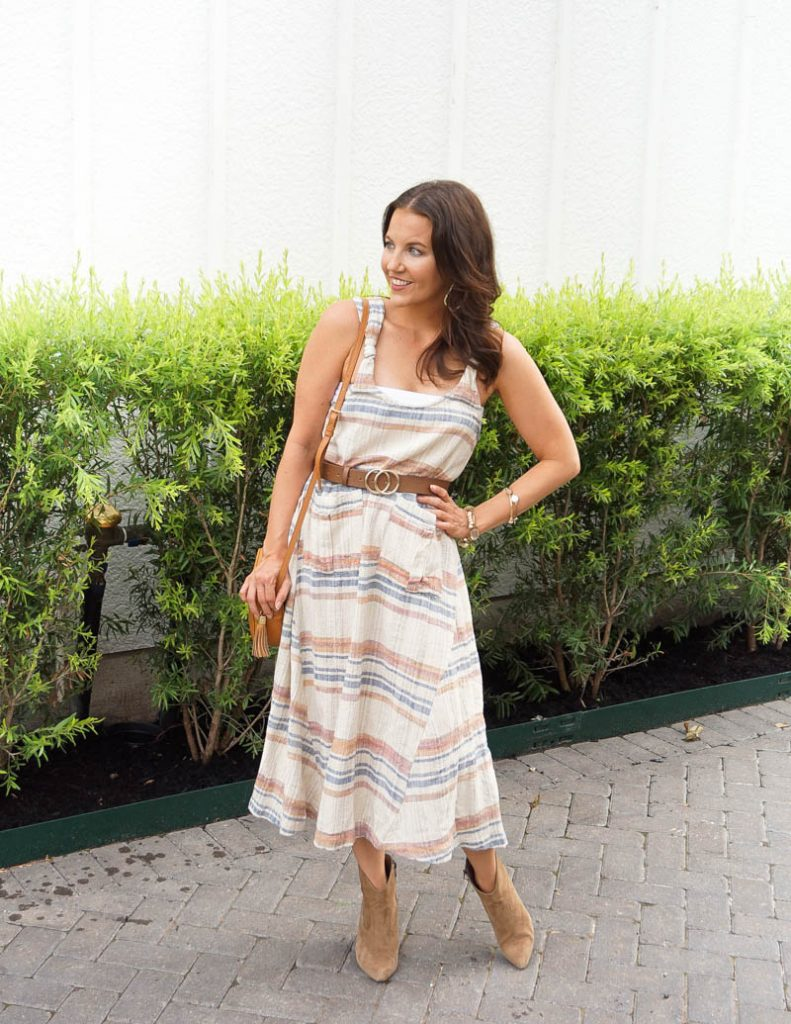 summer outfit | belted maxi dress | brown booties | Petite Fashion Blog Lady in Violet